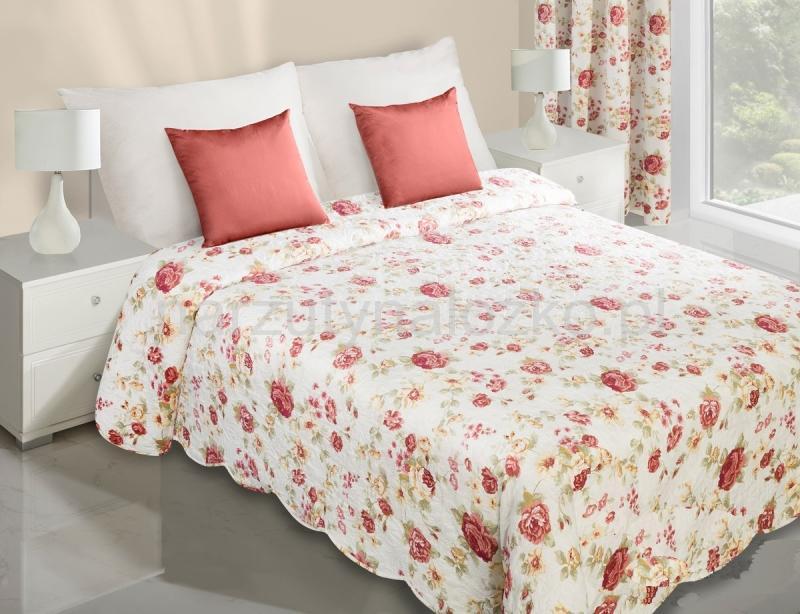 Narzuty dwustronne na łóżko  Dwustronna kremowa narzuta do sypialni w czerwone róże ...