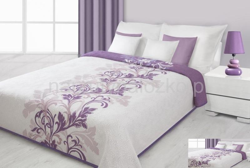 Kremowa Dwustronna Narzuta Na łóżko Z Fioletowym Wzorem