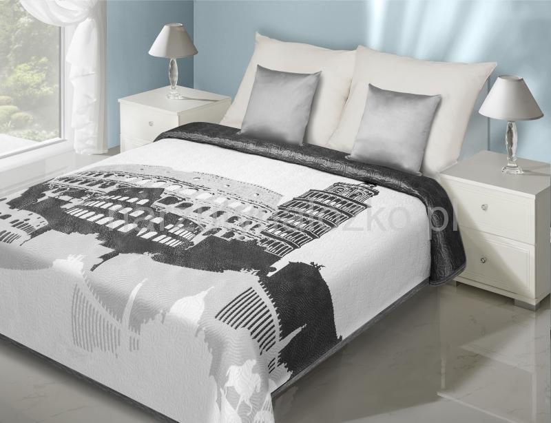 narzuty dwustronne na ko bia o szara narzuta dwustronna na zko z modnym motywem. Black Bedroom Furniture Sets. Home Design Ideas