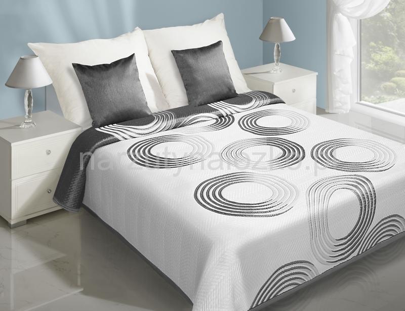 Dwustronna Biała Narzuta Na łóżko W Szare Koła