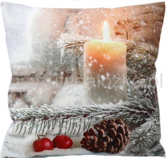 40x40 Bożonarodzeniowa Poszewka Na Zagłówek Z Padającym śniegiem