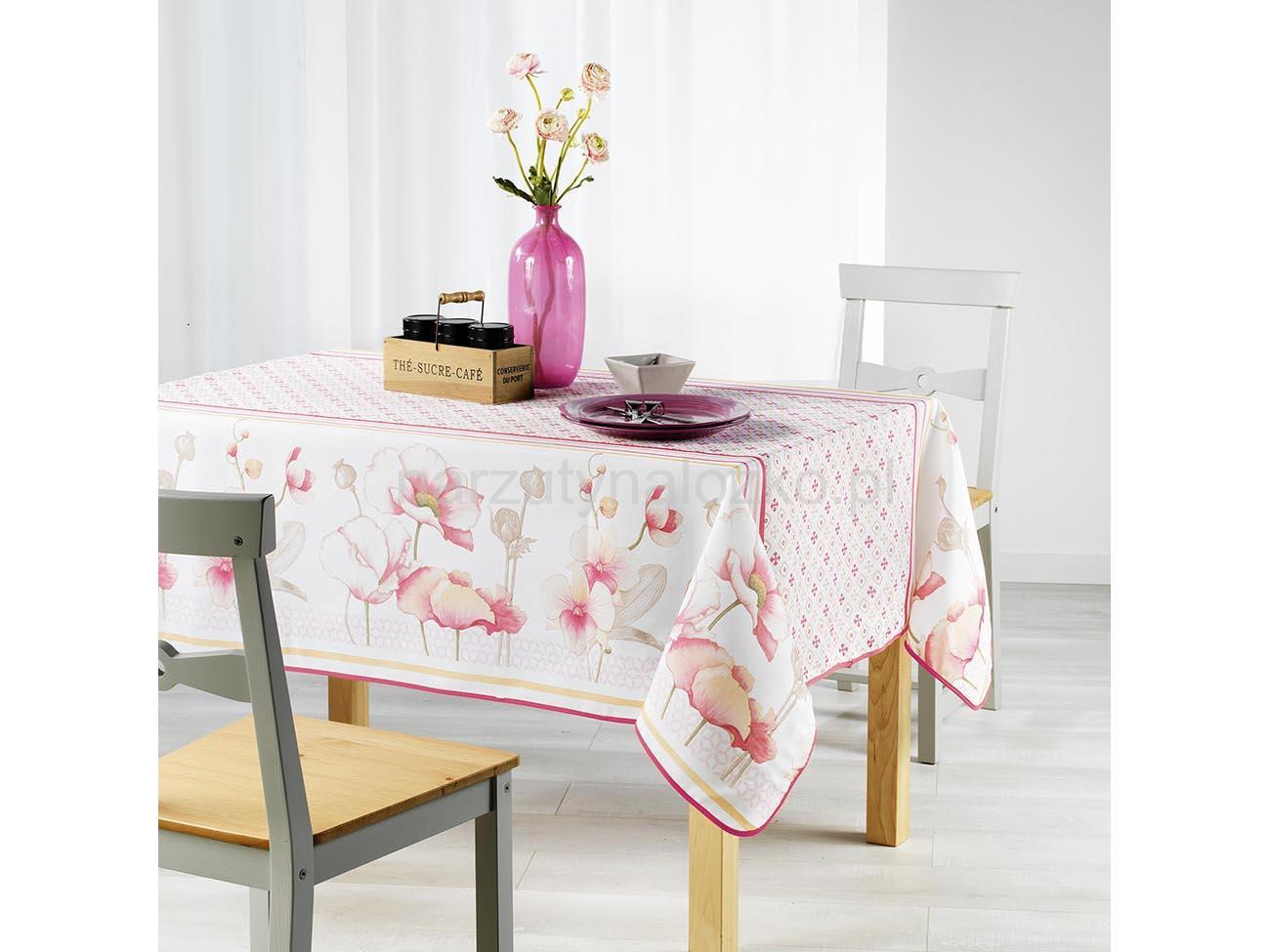 Motyw Kwiatowy Biały Dekoracyjny Obrus 150x240