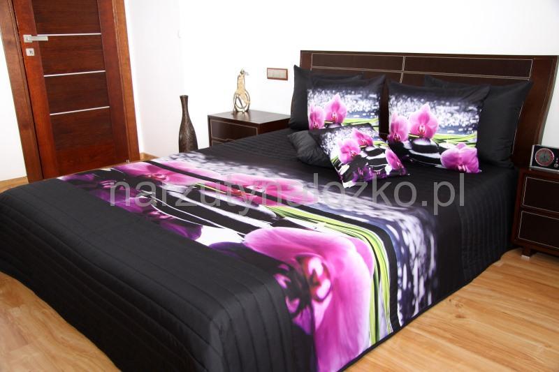 Czarne Narzuty Na łóżko Do Sypialni W Różowe Kwiaty