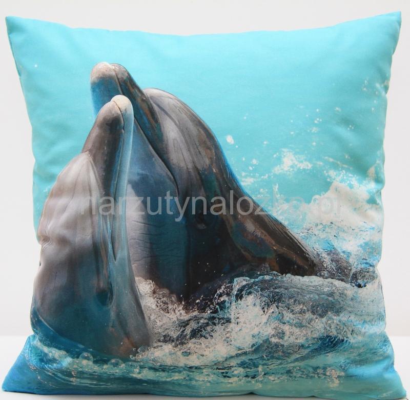 Błękitne Poszewki Na Poduszki Z Delfinkami