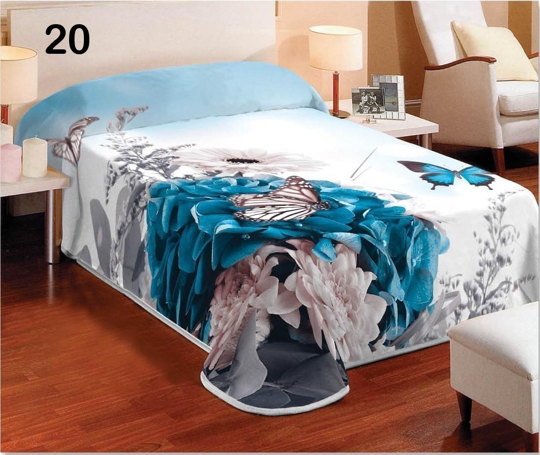 3981affa76b376 Biały koc z efektem 3D z turkusowym kwiatem empty