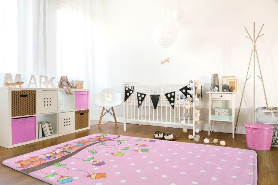 Muffinki I Białe Kropeczki Dywan Różowy Dla Dziecka