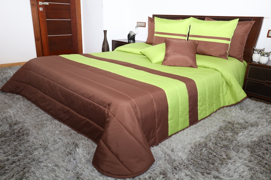 Zielono Brązowa Narzuta Na Podwójne łóżko
