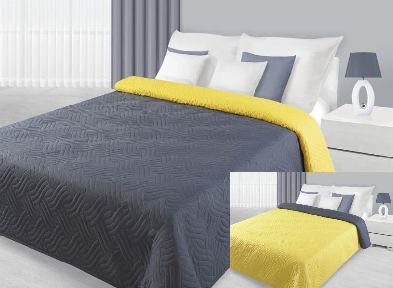 Szaro żółte Dwustronne Narzuty I Kapy Na łóżko