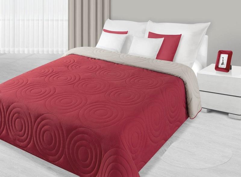 Czerwono Beżowe Narzuty Dwustronne Na łóżko