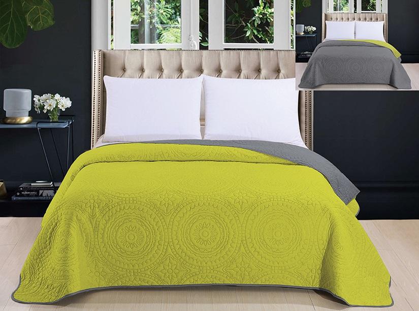 Dekoracyjna Zielono Szara Narzuta Pikowana Na łóżko Do Sypialni 200x220