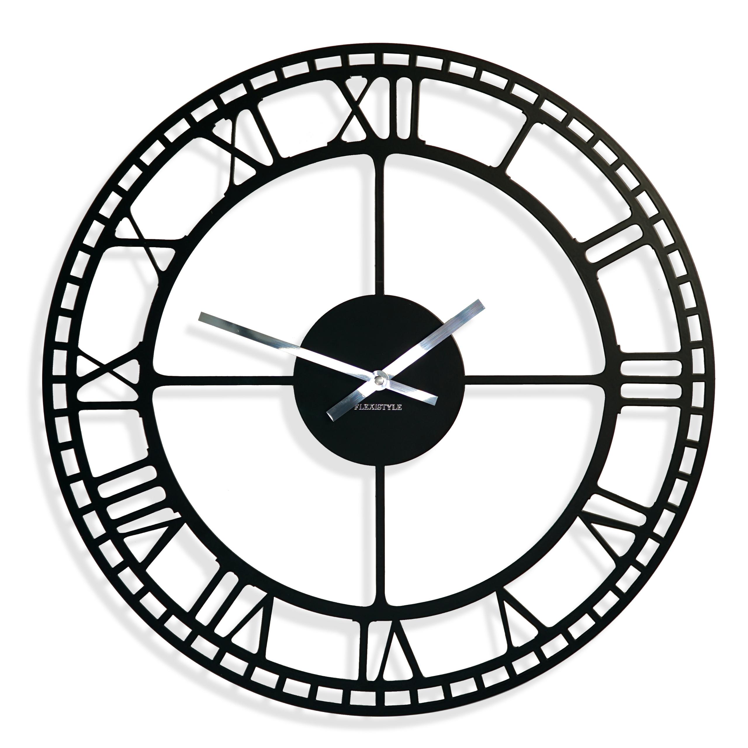 Duży Czarny Metalowy Zegar ścienny Rzymskie Cyfry