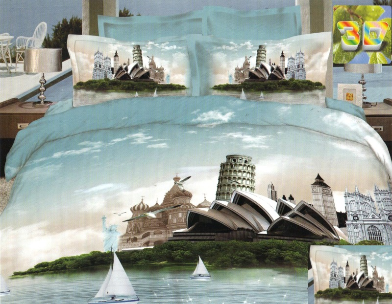 Elegancka Jasnoniebieska Posciel Do Sypialni Z Miastem Sydney