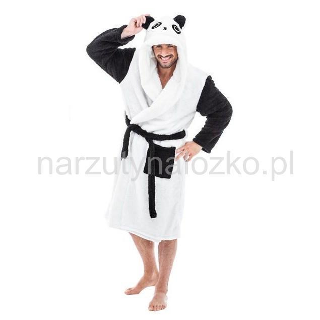 e36734b94473e6 Nowoczesny biały szlafrok męski panda z czarnymi długimi rękawami ...